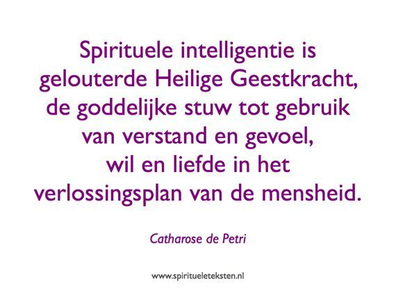 Spirituele intelligentie is gelouterde Heilige Geestkracht, de goddelijke stuw tot gebruik van verstand en gevoel, wil en liefde in het verlossingsplan van de mensheid. Catharose de Petri, spirituele teksten