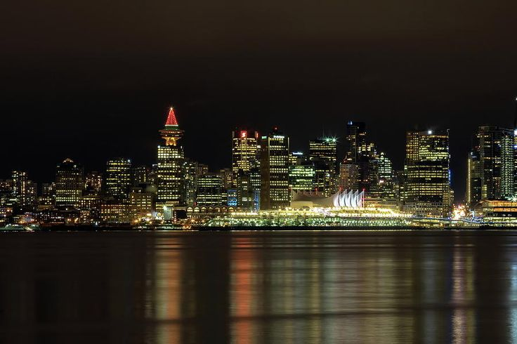Vancouver - Canada Photograph - Downtown Of Vancouver City  Night Time by Alex Lyubar #AlexLyubarFineArtPhotigraphy #VancouverBritishColumbiaCanada #NightScene #ArtForHome #FineArtPrint