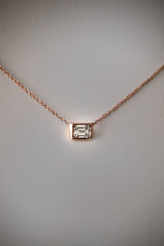 Item of the day .20 carat Emerald Cut Diamond Necklace by cestsla, $355.00