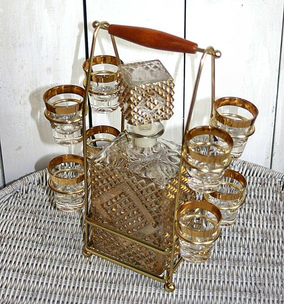 Mad Men Bar Set Retro Bar Set Barware Shot Glass Holder Whiskey Decanter  Liquor Decanter Set Whiskey Set