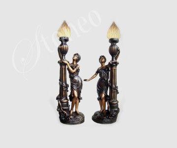 Minojskie kobiety - świeczniki z brązu