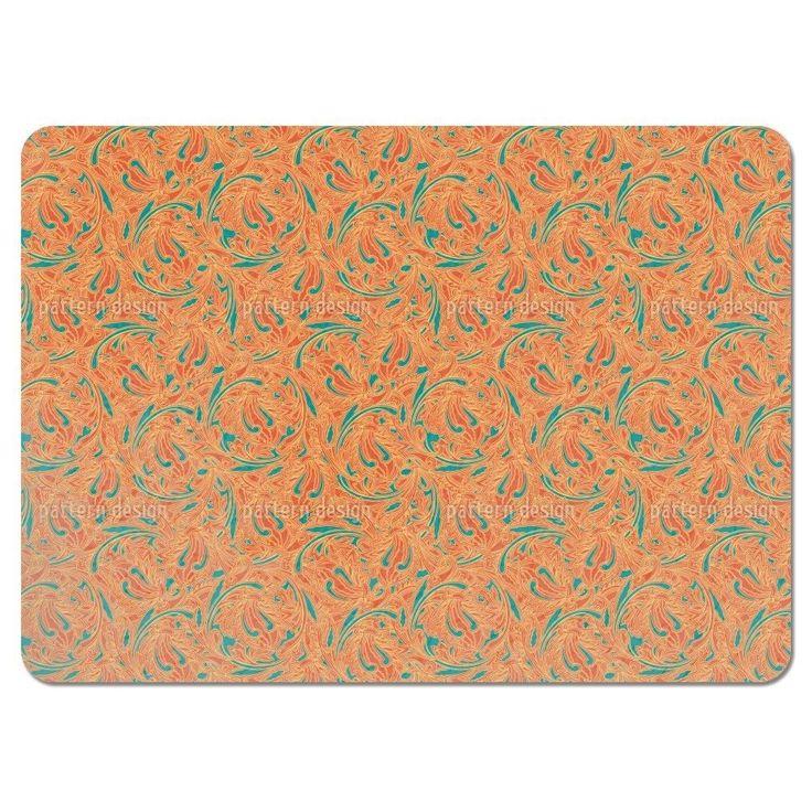 Uneekee Copper Engraving Orange Placemats (Set of 4) (Copper Engraving Orange Placemat) (Polyester, Floral)