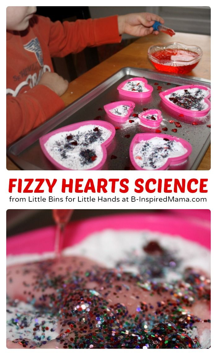 Simple & Fun Fizzy Hearts #Science for Kids - Perfect for Valentine's Day! #preschool  Chemistry activity for preschool.