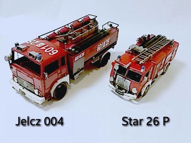 Metalowe wozy strażackie