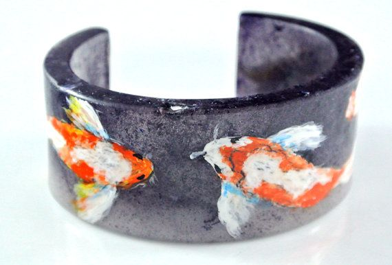 Hand Painted Resin Cuff Koi Pond SOLD