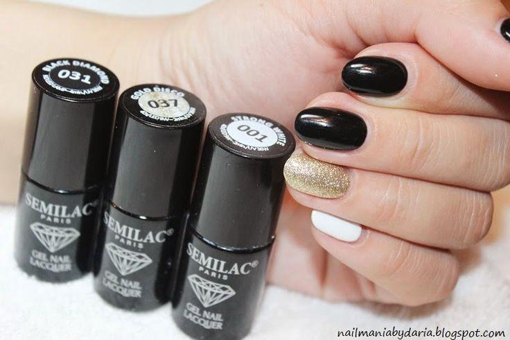Czerń 031 Black Diamond,  Biel 001 Strong White,  Złoto 037 Gold Disco Semilac