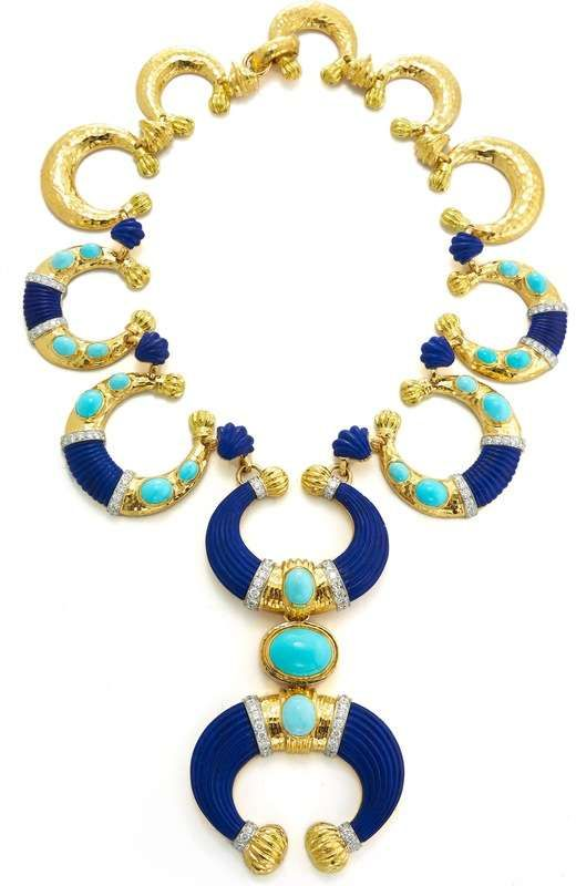 David Webb New York - Carved lapis lazuli, cabochon turquoise, brilliant-cut diamonds, 18K gold, and platinum