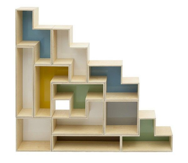 Tetris Shelves for the home, can be arranged in lots of different ways! (From Brave Space Design)