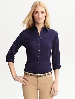 Tailored non-iron sateen shirt | Banana Republic