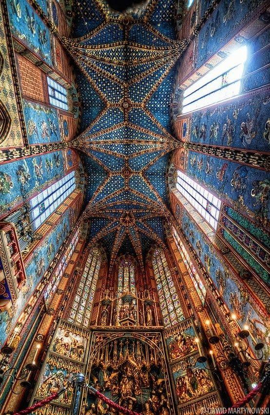St. Mary's altar/ceiling; Krakow, Poland