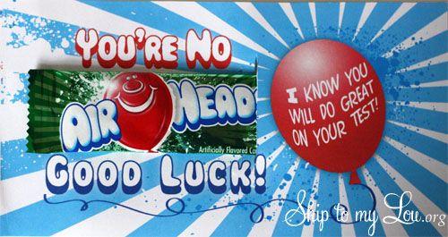 Air Head Candy Gram Test Taking Encouragement