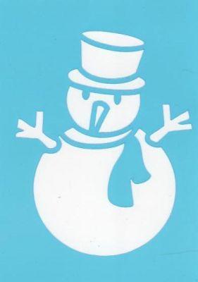 Pochoir bonhomme de neige avec chapeau pour décoration de fenêtre pour Noël