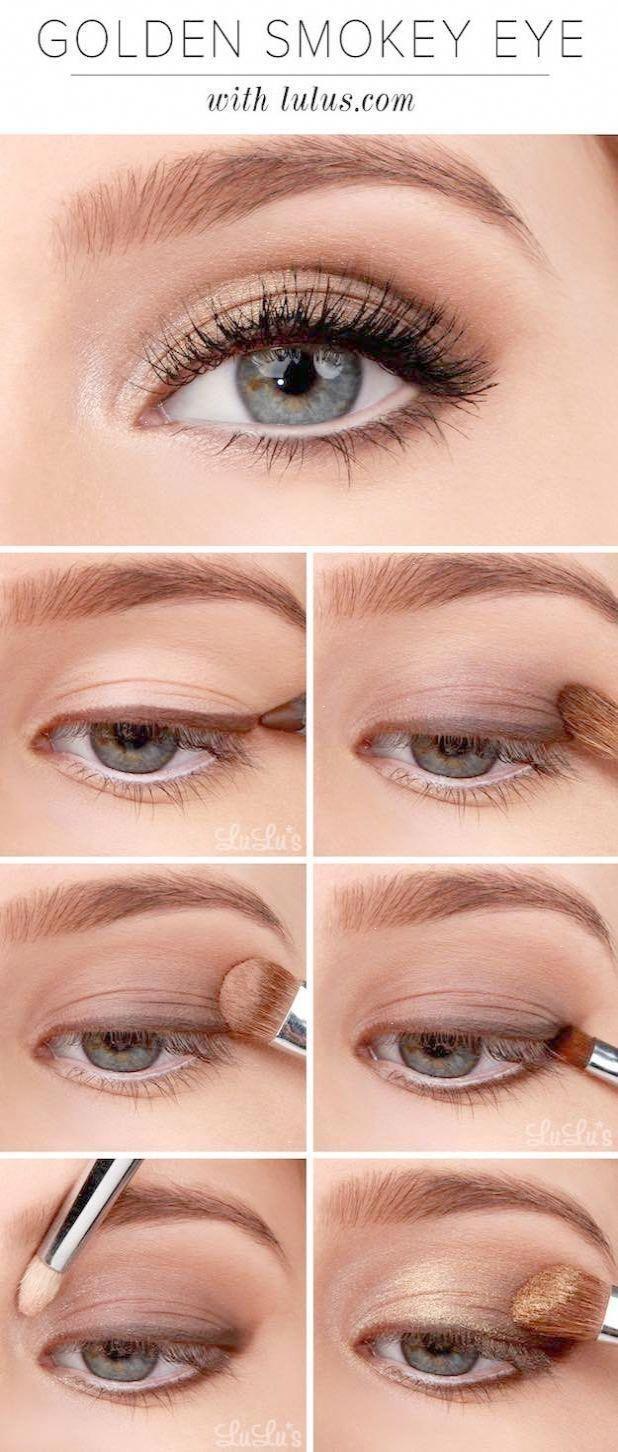 Makeup-Tutorials für Blue Eyes -Lulus Anleitung: Golden Smokey Eyeshadow Tutorial -Einfache Anleitung für Anfänger für natürliche einfache Blicke Sieht aus mit blonder Haarfarbe und guter Haut. Smokey-Looks und Looks für Prom #smokeyeyemakeupstepbystep – Make up Ideen