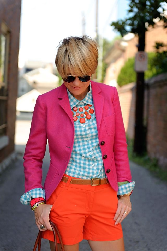 """Seersucker & Saddles"" rocking her Stella & Dot Olivia Bib Necklace with a bright blazer & gingham top...would have to overcome fear of bright colors to wear this one."