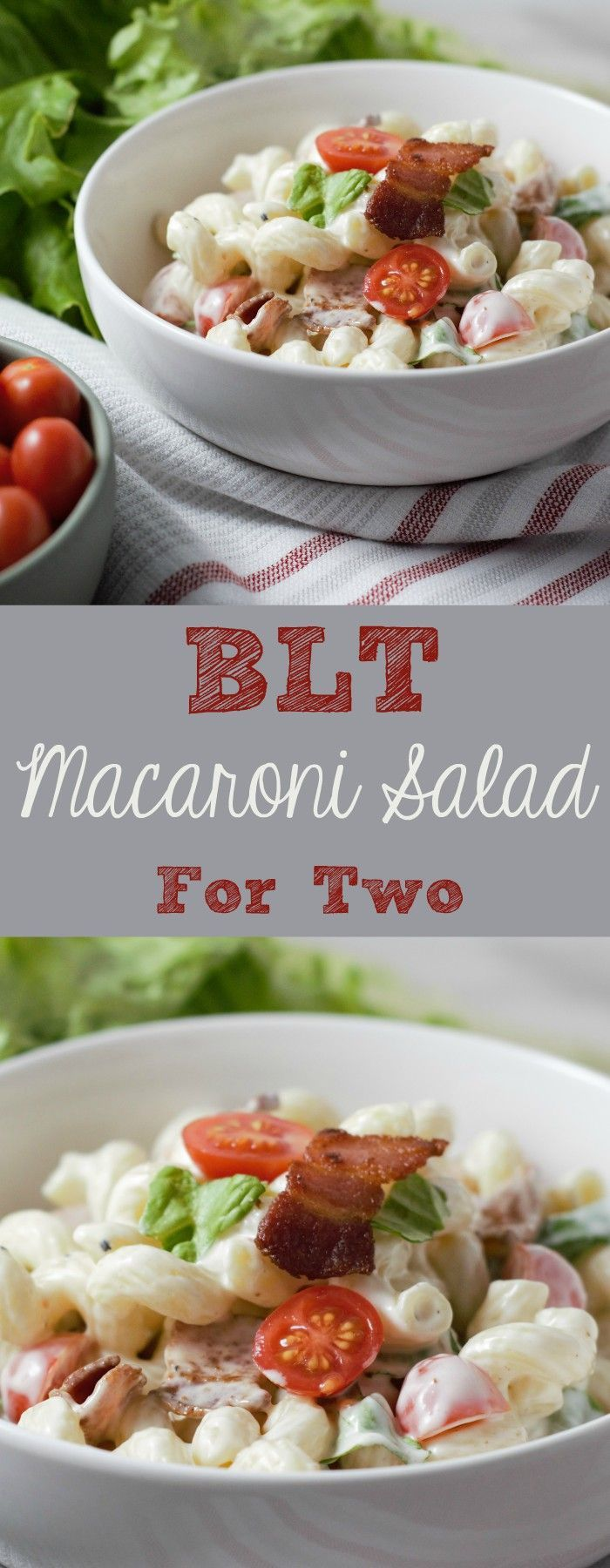 In this easy and tasty BLT Macaroni Salad bacon, lettuce and tomato are mixed with a creamy delicious dressing. This small batch recipe is a great side dish and serves two or three people. You can use any pasta shape you prefer and this gorgeous cavatappi pasta is my favorite. #BLT #BLTMacaroniSalad #MacaroniSalad #pasta #SideDish #SideDishForTwo #RecipesForTwo #SmallBatch