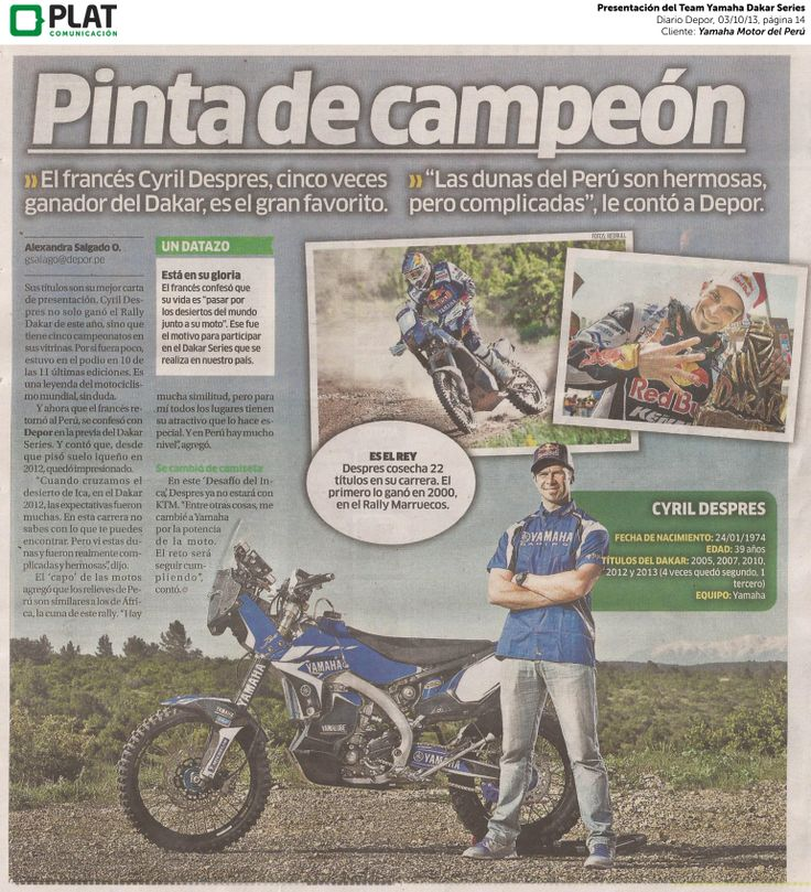 Yamaha: Presentación del Team Yamaha Dakar Series en el diario Depor de Perú (03/10/13)
