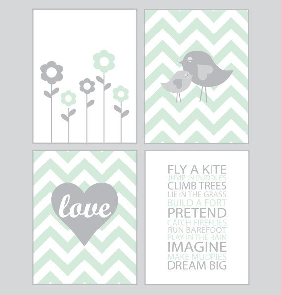 Baby Girl Nursery Art - Chevron mint and gray - set of four - 8x10 prints