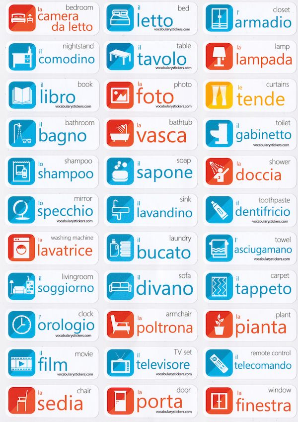 Italian Vocabulary Memorizing Stickers