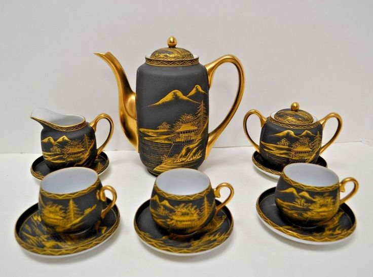 Vintage Satsuma Japanese Tea Set Hand painted Porcelain Black Gold Matte Japan #Satsuma