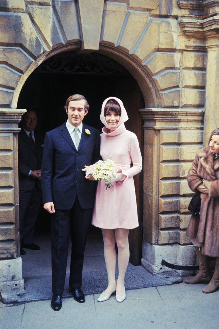 Audrey Hepburn with Andrea Dotti after their wedding in Switzerland. January 18, 1969.