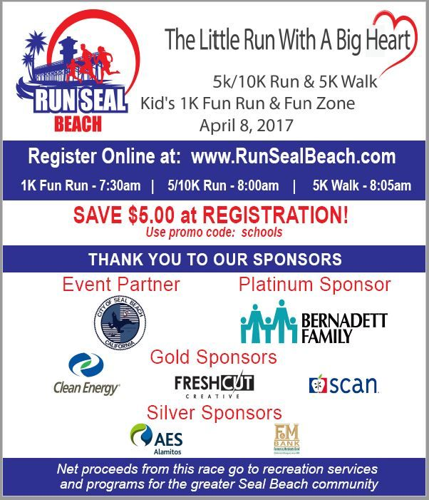 Save Up To 5 At Registration For Run Seal Beach On April 8 Use Promo Code Schools When Registering Online Seal Beach Seal Fun Run