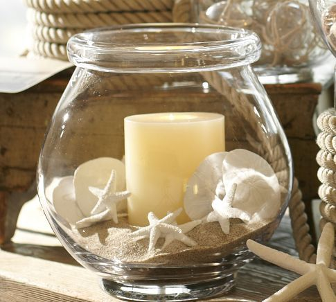 Mini White Starfish Vase--Things to make. Replace the candle with a battery operated tealight.