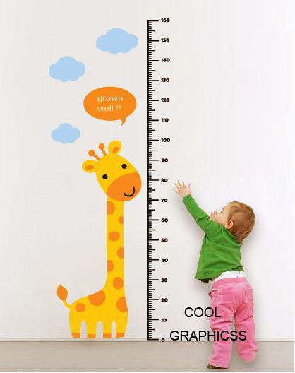 Giraffe and Children Growth Chart -Vinyl Wall Decal Sticker Art. $48.00, via Etsy.
