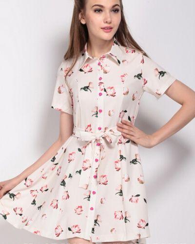 Sweet floral shirt dress for girls pink long shirts tie waist design $26
