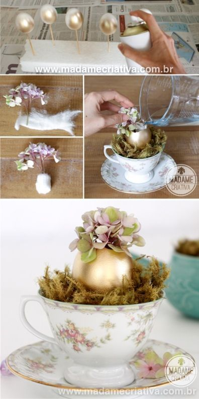 Beautiful centerpiece! So easy to make! The egg shell looks amazing in gold with…