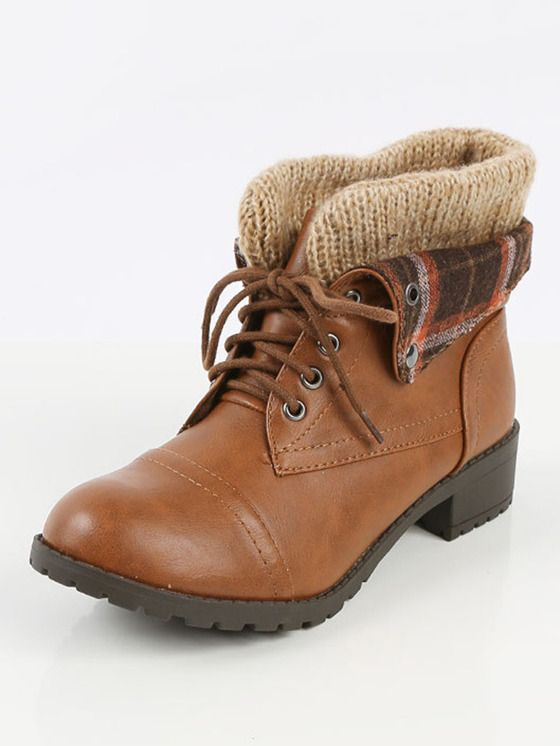 Soda Plaid Fold Over Ankle Boots TAN | MakeMeChic.COM