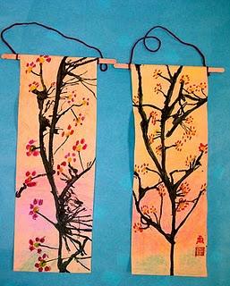 Cherry blossom scrolls