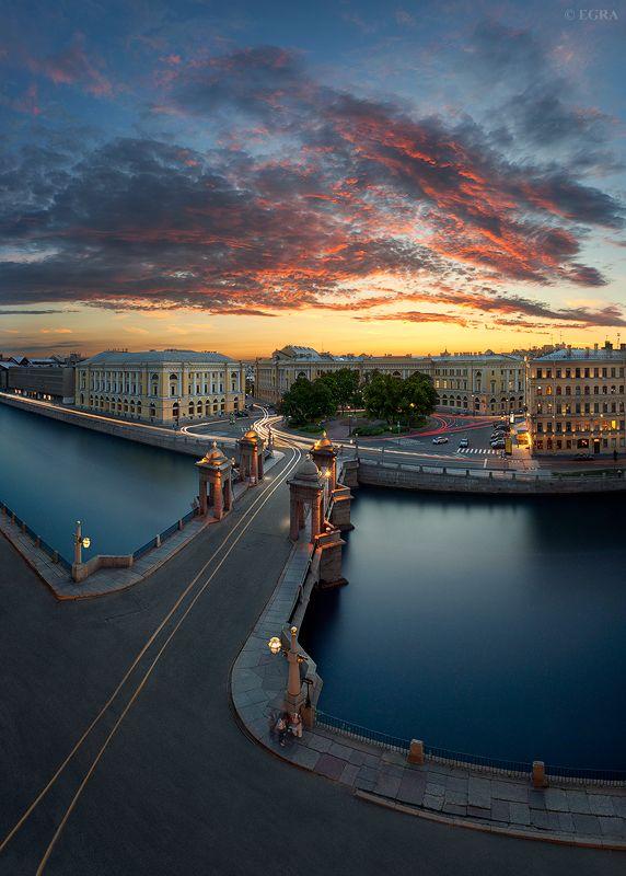Bridge and Fontanka River in Saint Petersburg, Russia.