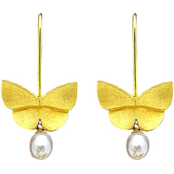 Pre-owned Tiffany & Co. Butterfly and Pearl Dangle Earrings ($1,895) ❤ liked on Polyvore featuring jewelry, earrings и dangle earrings