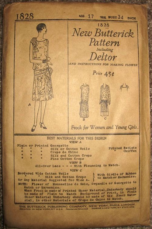 "Butterick 1828: New Butterick Pattern including Deltor. Frock for Women and Young Girls. Drop-waisted dress with fabric flower decoration and waistline girdle or sash, has matching slip or ""underbody"". Over-dress may be made of lace or coordinating sheer fabric. May be made sleeveless or with long sleeves and with neckline variations."