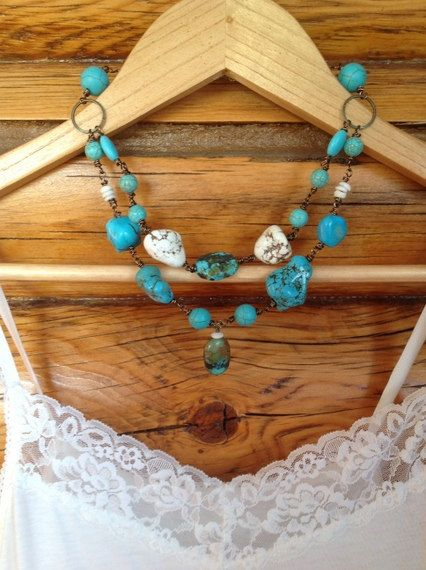 Items Similar To Chunky Turquoise SET Bridal Necklace Rustic Wedding Accessories Country Western Cowgirl Rodeo Bridesmaid Gift On Etsy