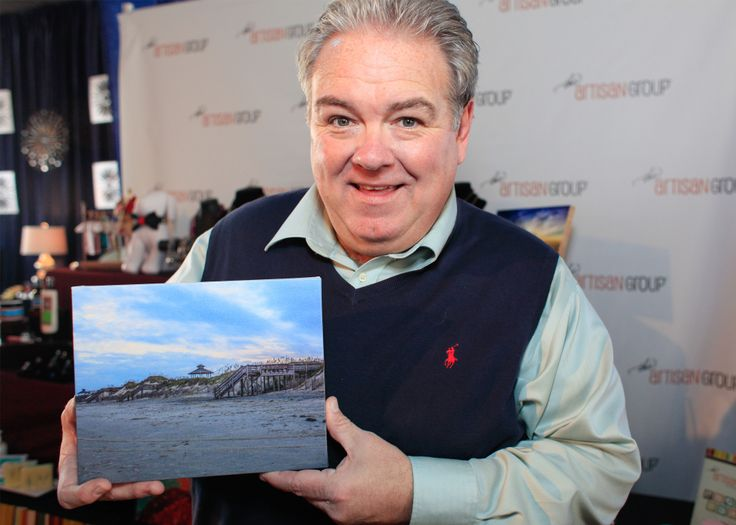 Jim O'Heir holding Nature's Images By Design display piece- Actor known for Parks and Recreation, Accepted, Seeking a Friend for the End, Strip Mall