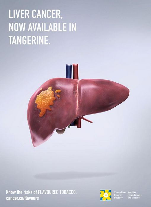 """""""Lung cancer, now available in tangerine."""" - Know the risk of flavoured tobacco. Cancer.ca/flavors #Cancer #LungCancer #Smoking #WorldCancerDay"""