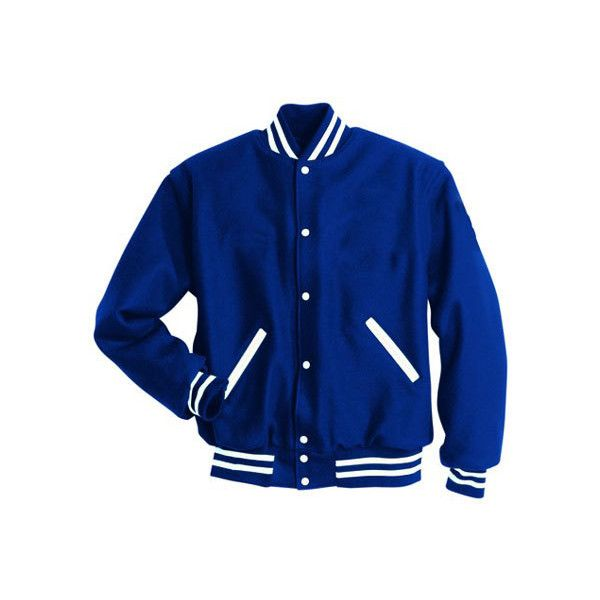 letterman jacket, high school, varsity letter, jacke, embroidery... ❤ liked on Polyvore featuring outerwear, jackets, tops, coats, letter jacket, blue jackets, varsity bomber jacket, blue varsity jacket and blue letterman jacket