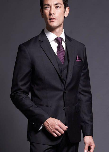 Men's Designer Three-Piece Suits | Men's Custom Tailored Suit : Bright Dark Vested Custom Tailored Suit