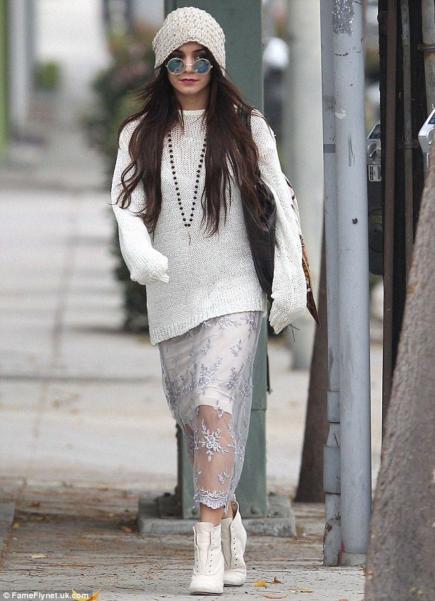 Snow day: Vanessa Hudgens looked chic in a winter white outfit on a shopping trip in Beverly Hills on Thursday