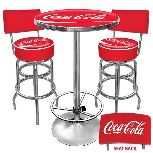 This Officially Licensed Coca-Cola Game Room Set includes one Pub Table and Two Barstools with Backs. High quality pub stools with a comfortable padded seat that swivels 360 degrees. Stools are 30 inches high (40 inches high with back rest) The Pub table features an acrylic top with crystal clear reverse side printing. The 1 inch thick