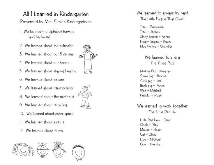 79 best Kindergarten graduation images on Pinterest DIY - graduation program