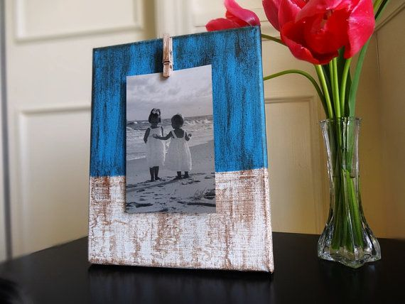 Canvas Photo Display Hand Painted Picture Frame Beach Theme Decor Blue White Brown