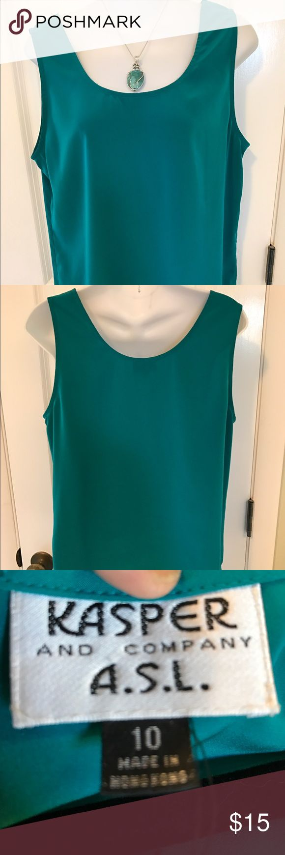Kasper teal green tank top. Size 10. Teal green tank top can be worn with suits, skirts, or slacks. Kasper always is quality. Size 10. Kasper Tops Tank Tops