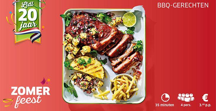 Recept voor spareribs van de BBQ met verse ananas-avocadosalsa en frietjes. #lidl #spareribs #bbq #ananas #friet