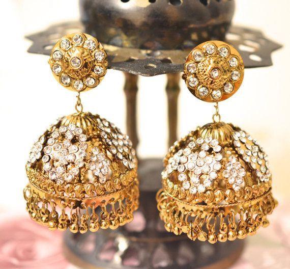 Beautiful Gold tone Jhumka earring dangle by BeautifulByBetter