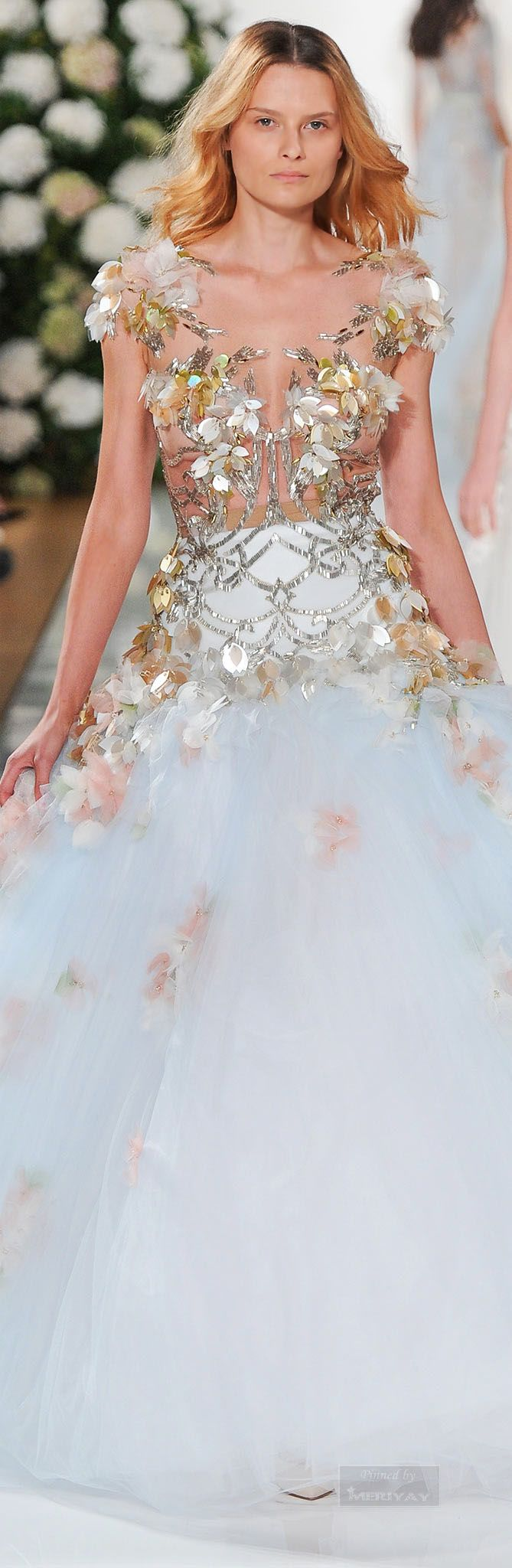 Valentin Yudashkin ~ Highly Embellished Evening Gown,White,.Spring 2015.
