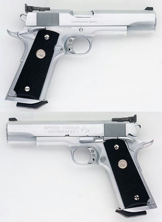 Dual Colt M1911 9mm 45 Chrome Pistols