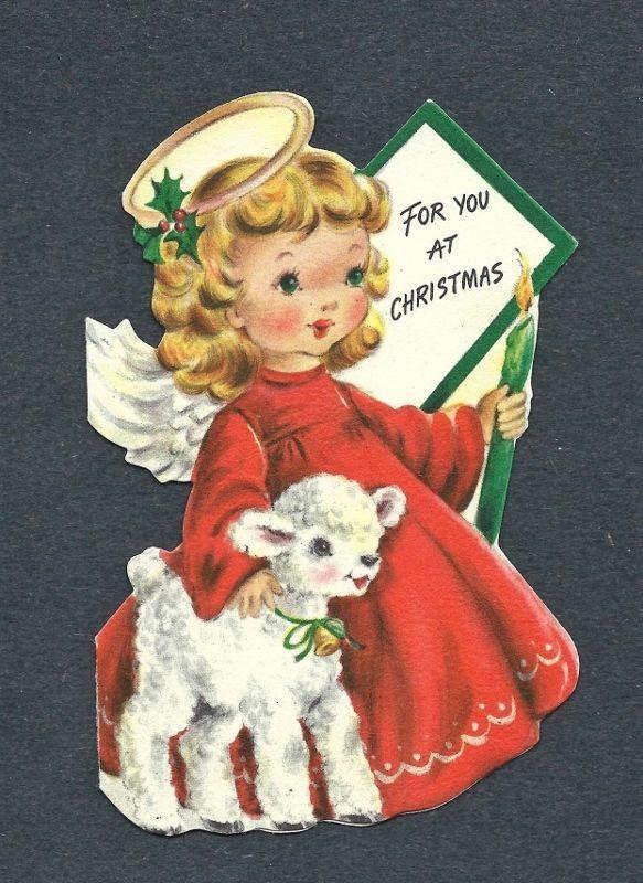 '50s Adorable Angel with Little Lamb Vtg. Die-cut HALLMARK Christmas Card