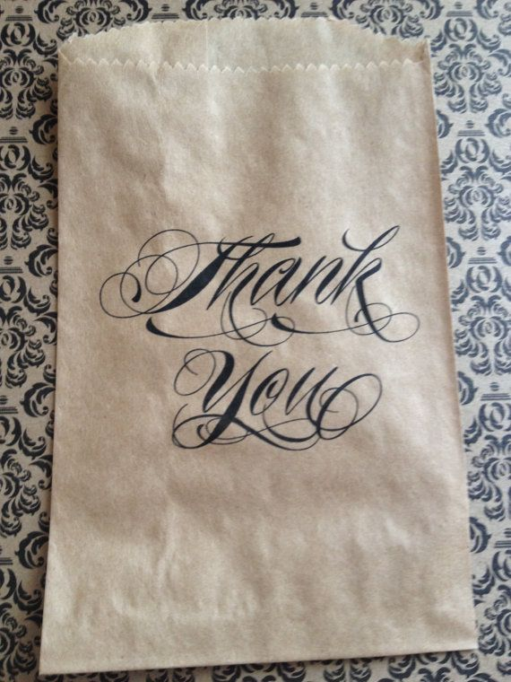 25 Thank You Candy Bags Candy Buffet Wedding Bridal by PaperFever, $15.00